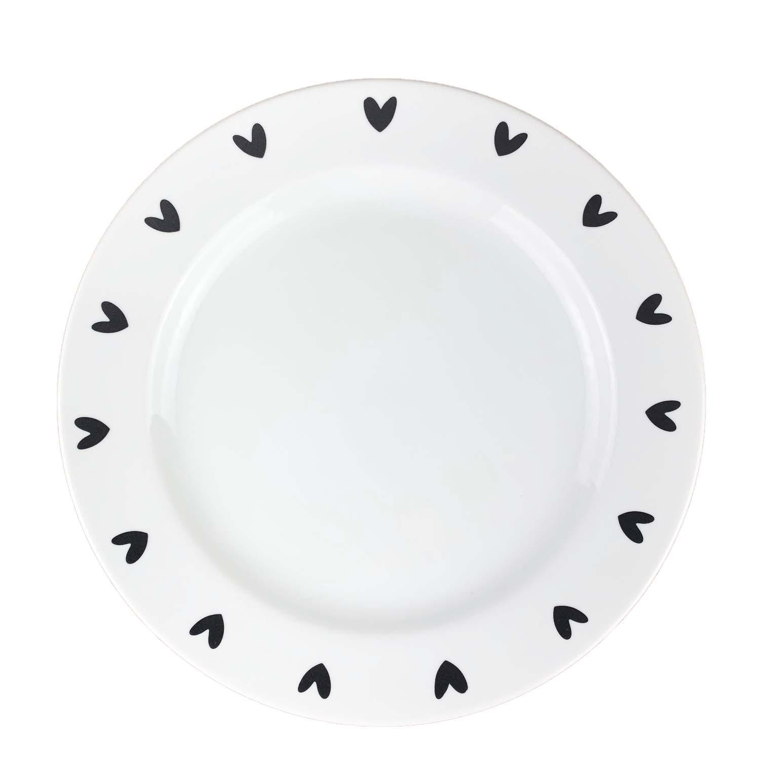 Jogo com 2 pratos rasos Black Hearts
