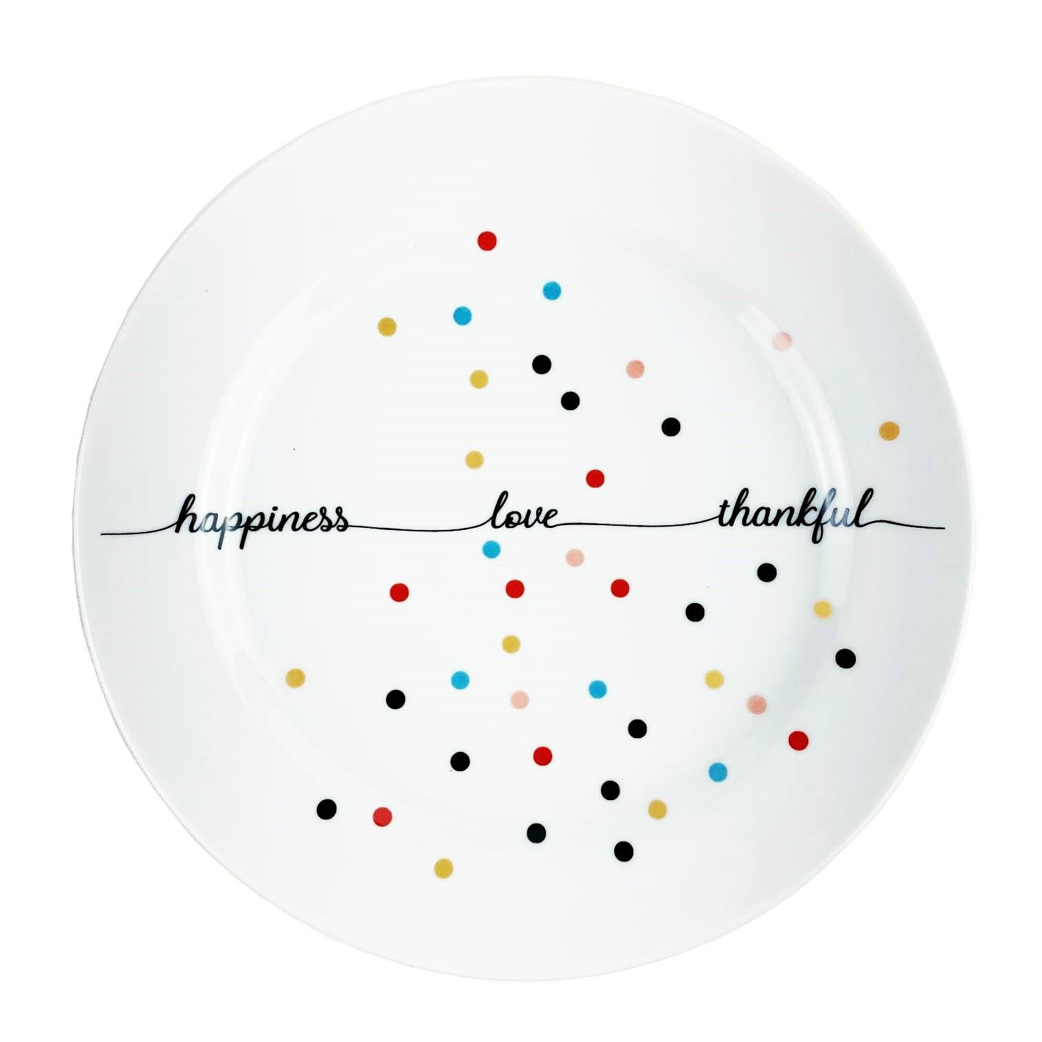 Jogo com 2 Pratos Sobremesa Dots Happiness
