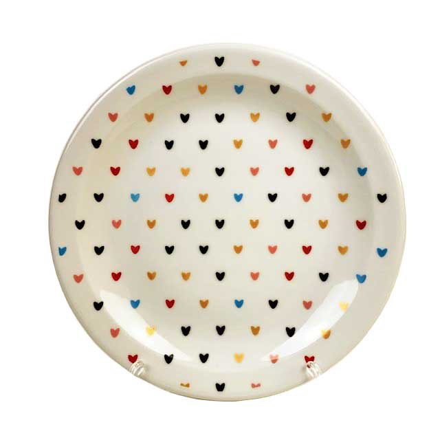 Jogo com 2 Pratos Sobremesa Hearts Colors
