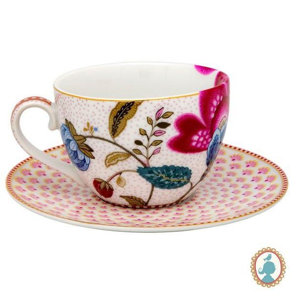 Jogo com 2 xícaras chá com pires Floral Fantasy branco
