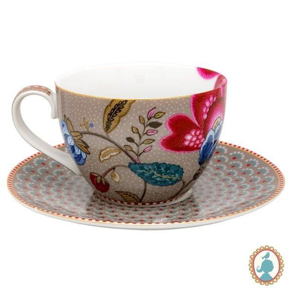 Jogo com 2 xícaras chá Floral Fantasy cáqui