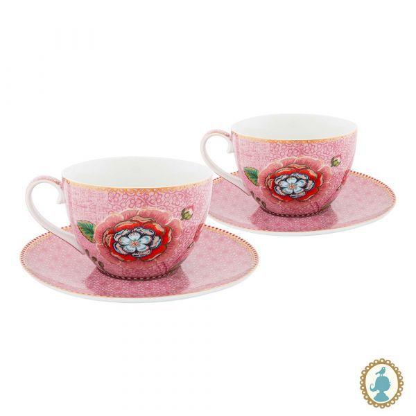 Jogo com 2 xícaras chá Spring to Life Rosa