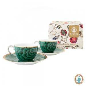 Jogo com 2 xícaras chá com Pires Spring to Life verde