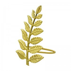 Jogo c/4 Argolas para Guardanapo em metal Leaves Gold