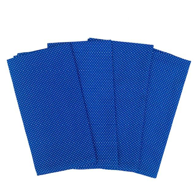 Jogo com 4 Guardanapos Azul Bic com poá branco