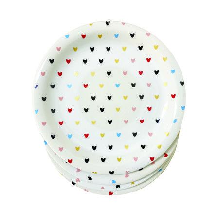 Jogo com 4 Pratos Sobremesa Hearts Colors