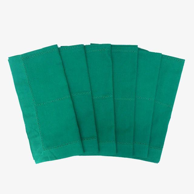 Jogo com 6 guardanapos Verde Bandeira com ponto Ajour