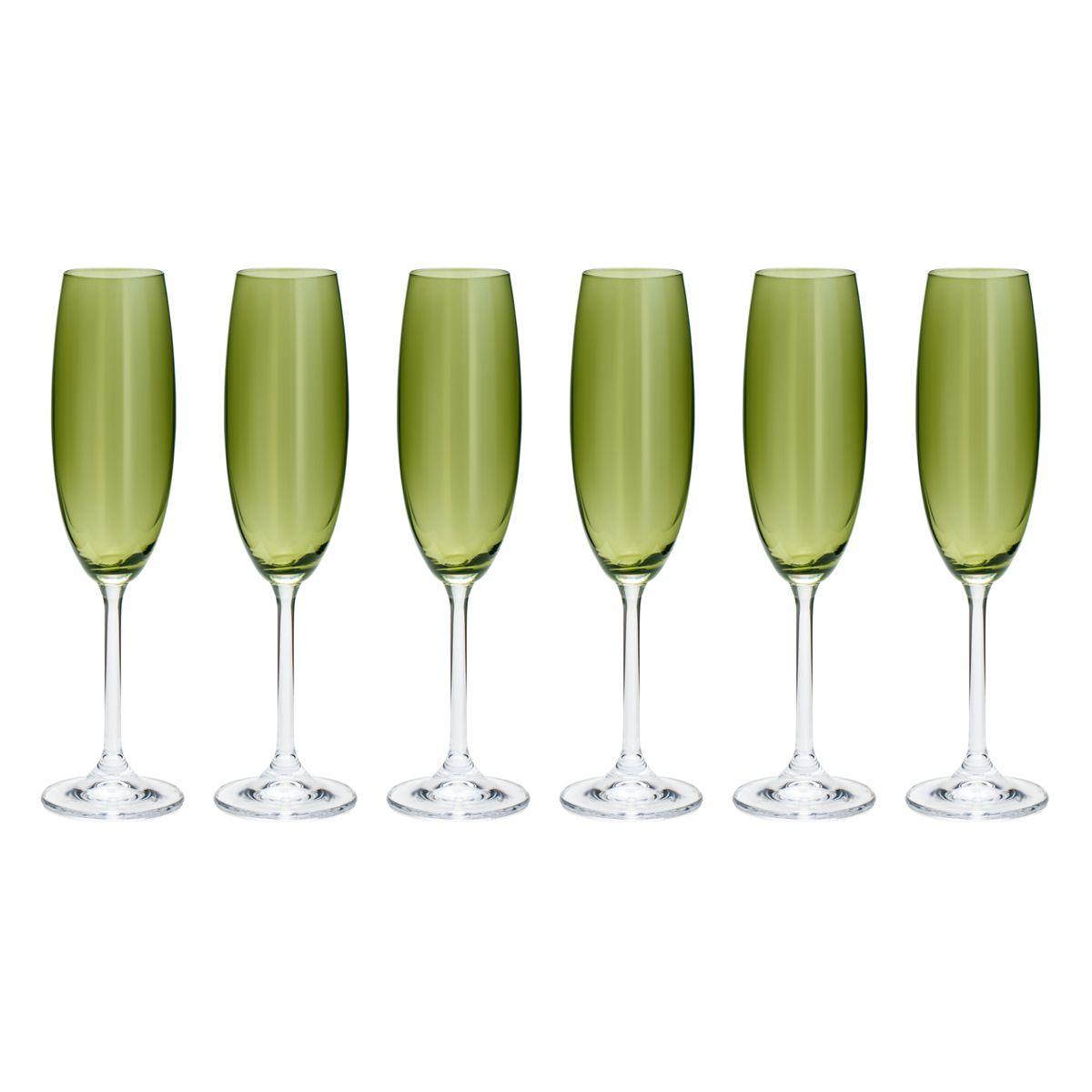 Jogo com 6 Taças Espumante Cristal Verde Colibri
