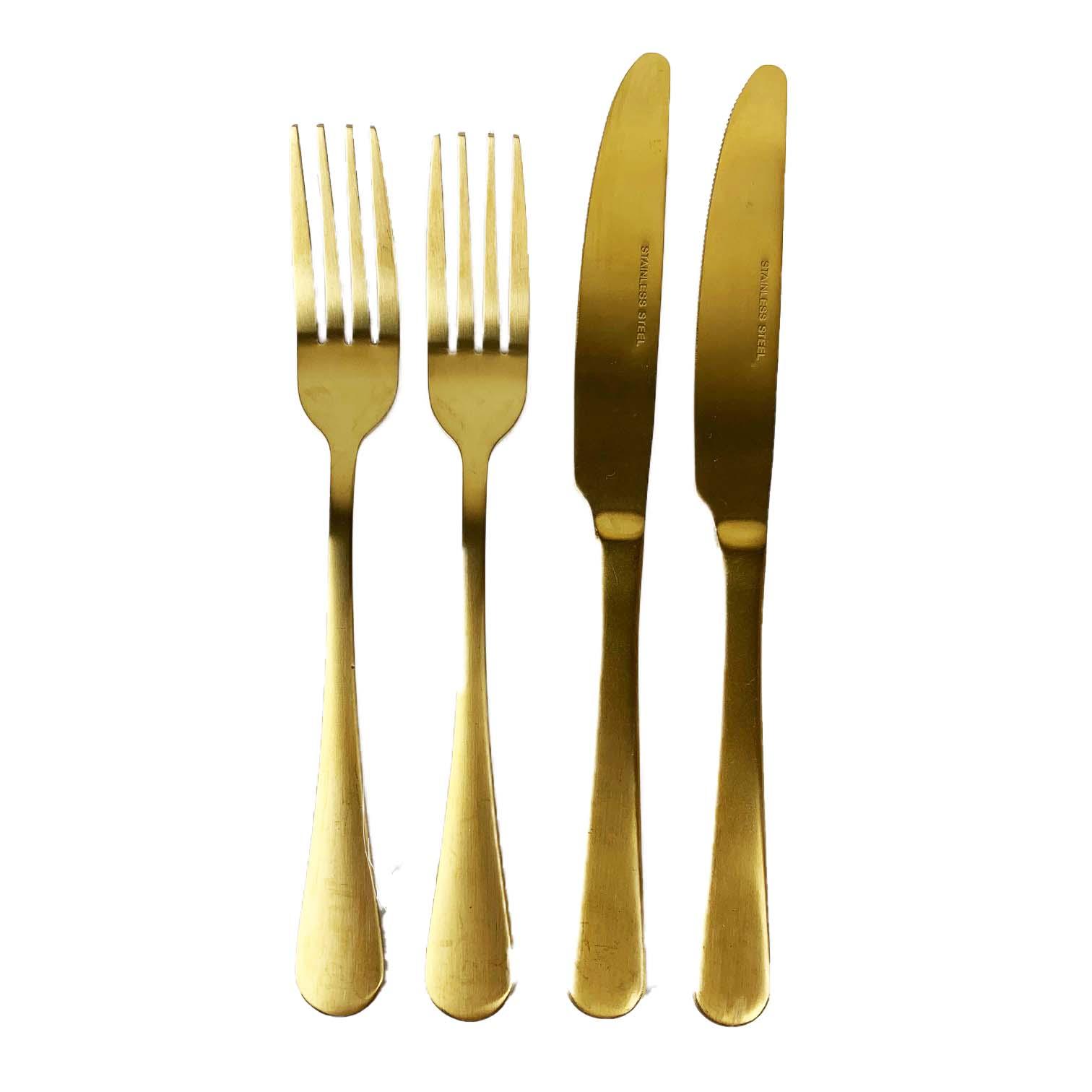 Jogo Talher p/ Jantar 2 Lugares Gold 4 peças