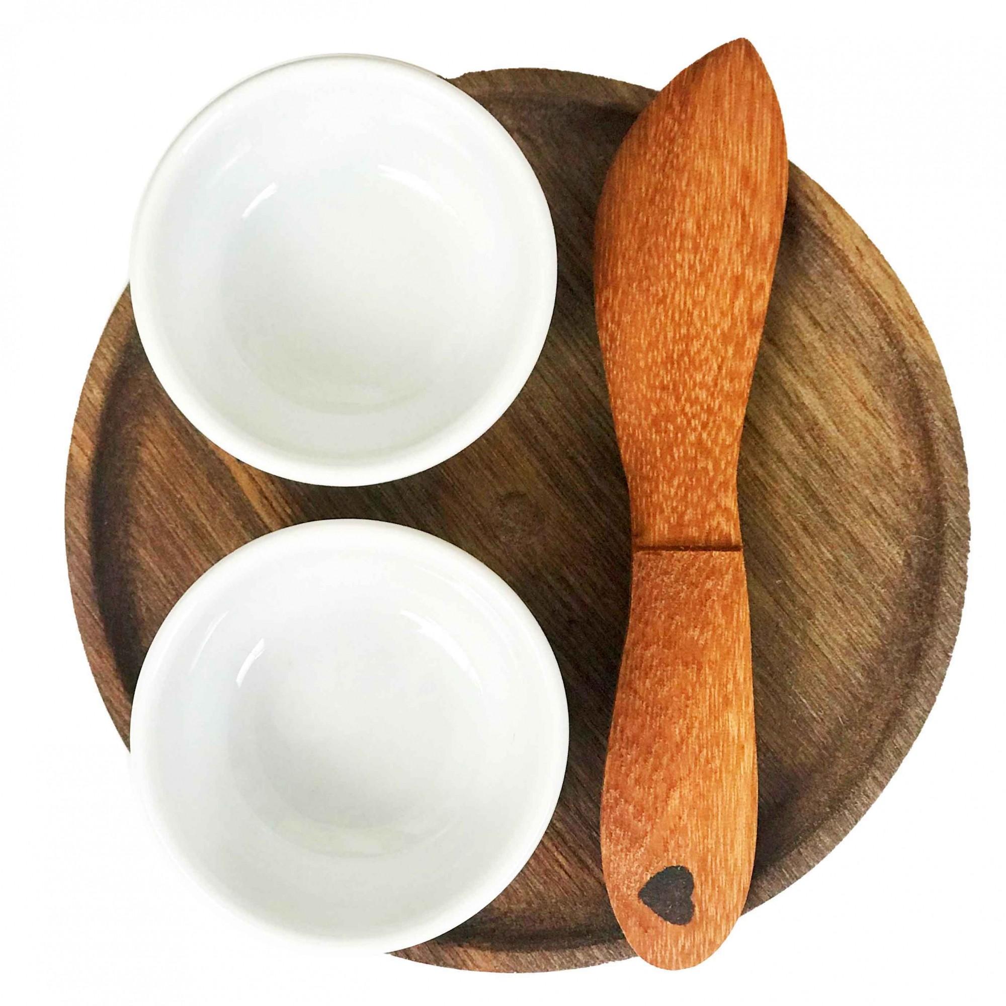 Kit Patê c/  2 mini bowls no pratinho de madeira e faquinha espátula em madeira