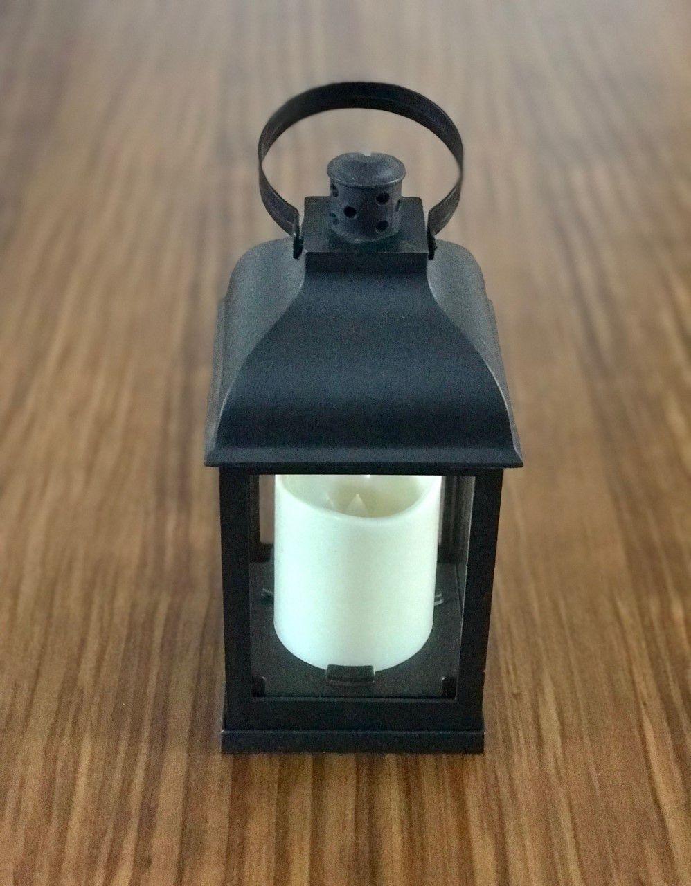 Lanterna Decorativa de Vidro com Led 23 cm