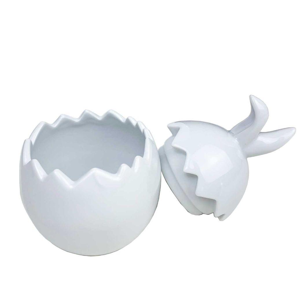 Ovo de Páscoa c/Orelhinha de Coelho em porcelana, 12 cm