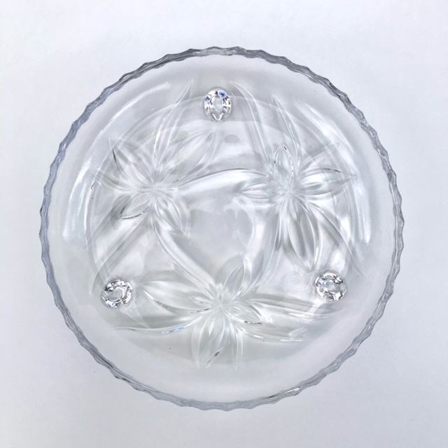 Petisqueira com Pé Cristal Floral
