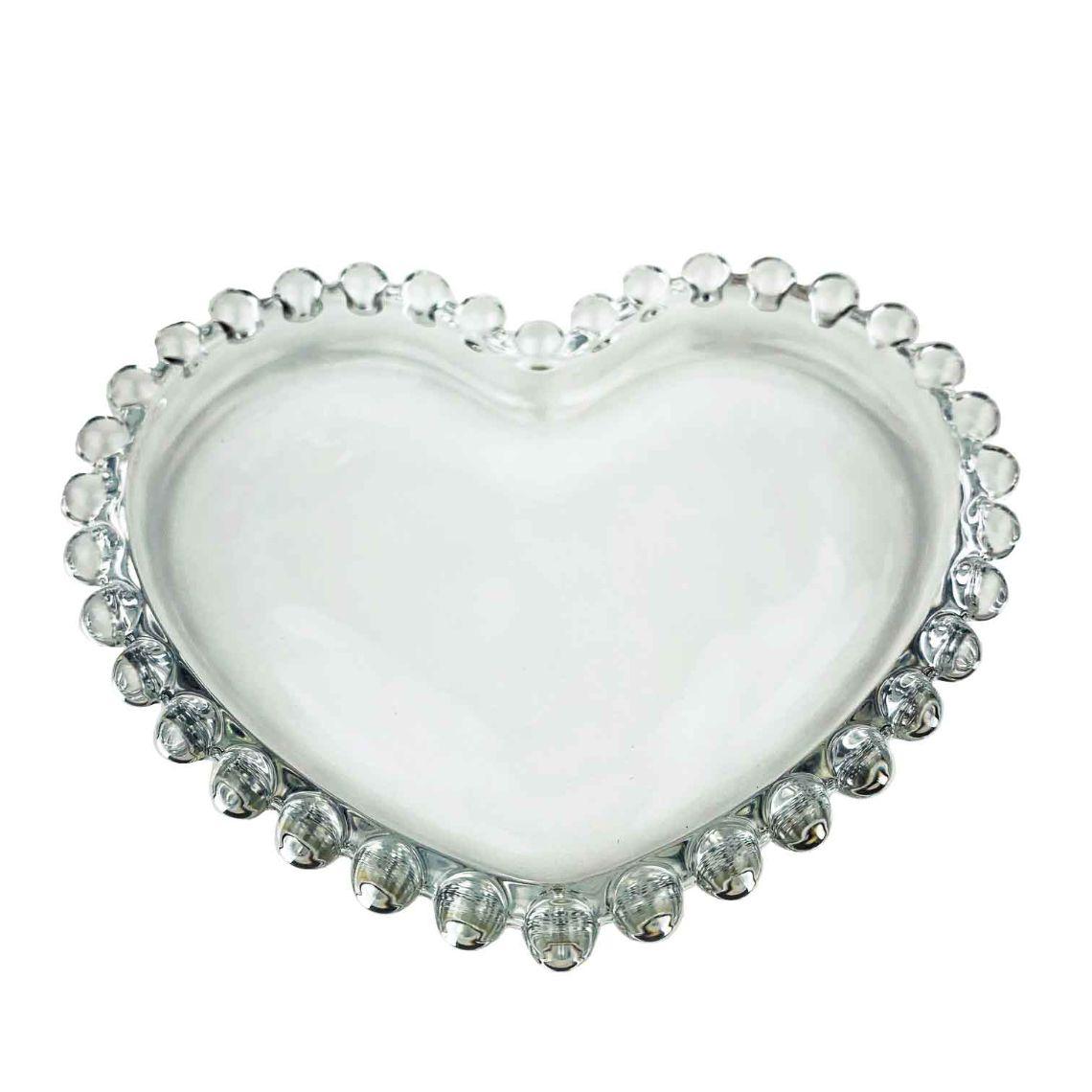 Pratinho Coração Pearl, cristal Wolff, 12 cm