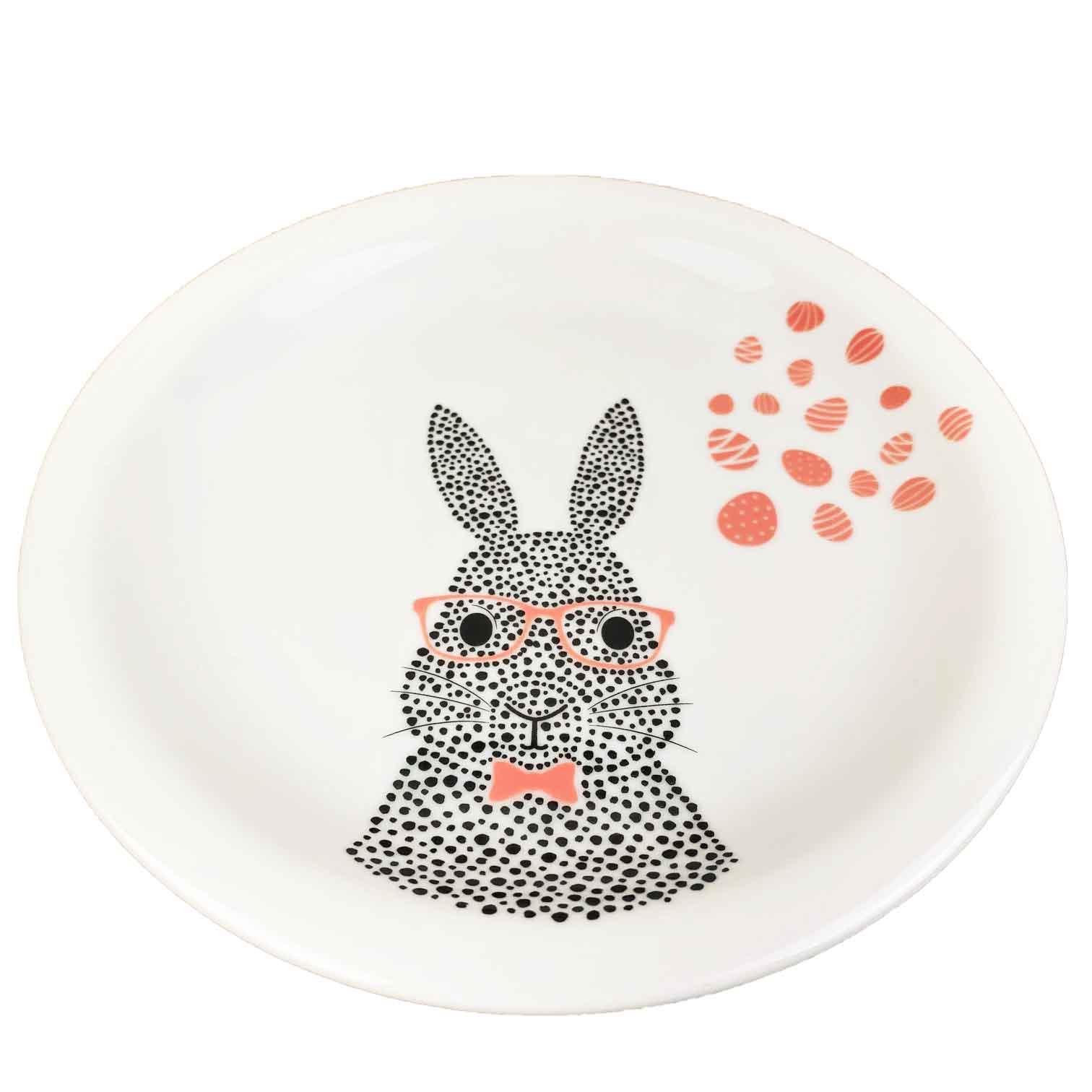 Prato de Sobremesa Bunny, em porcelana, 18,7cm de diâmetro, coleção exclusiva  Jardim de Páscoa