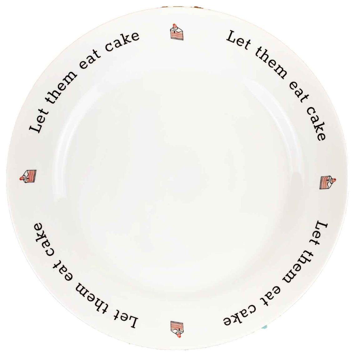 Prato p/Bolo em porcelana, 27,5cm, coleção exclusiva Lettering Let them eat cake