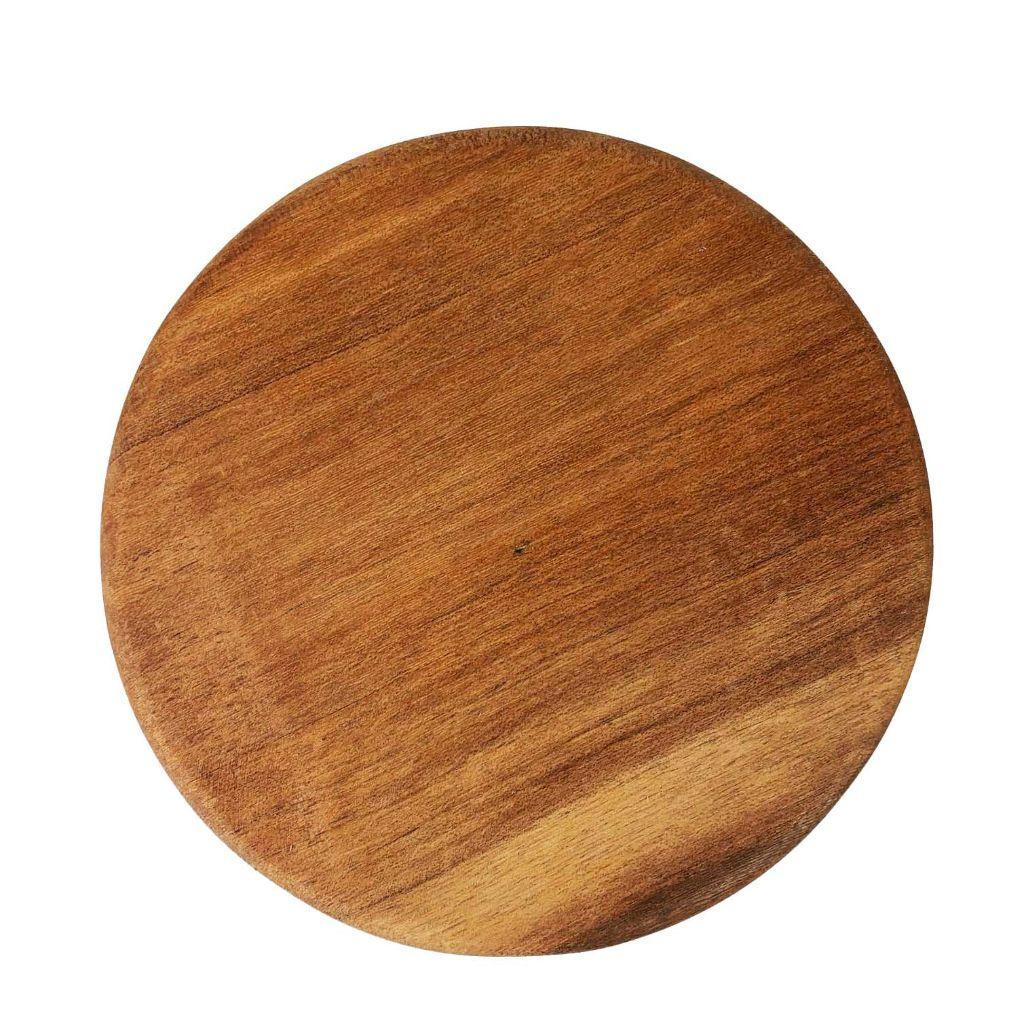 Prato para Bolo Pé Torneado em Madeira, 18 cm