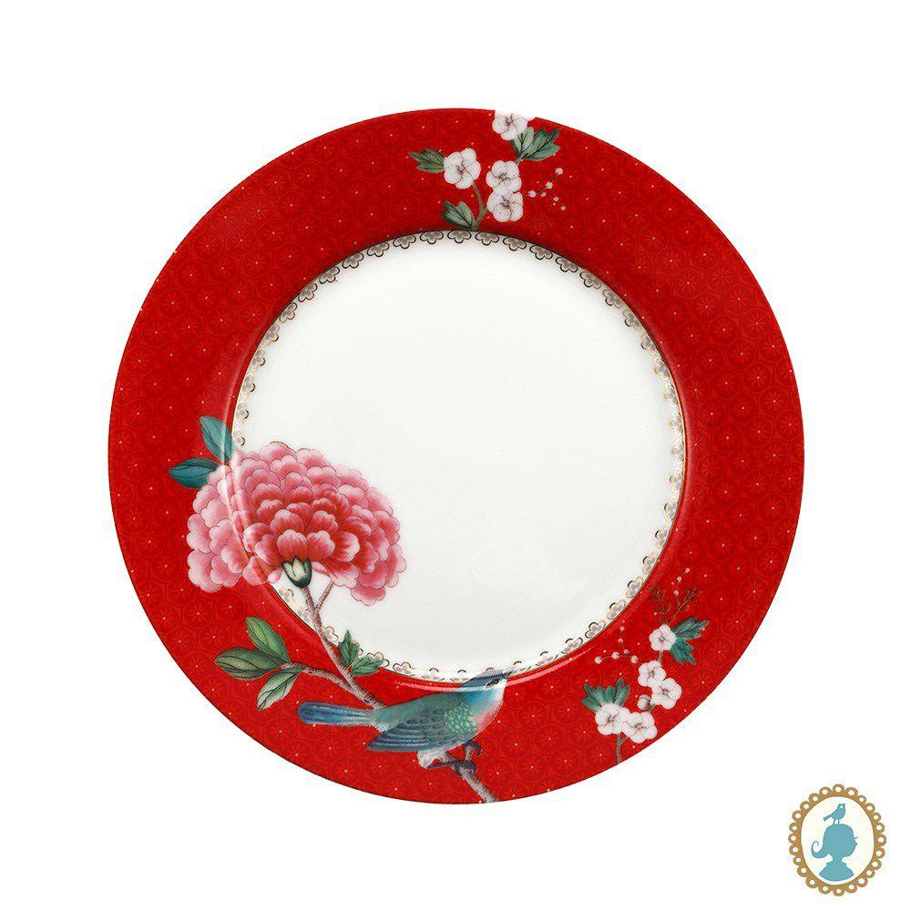 Prato Sobremesa Blushing Birds Vermelho