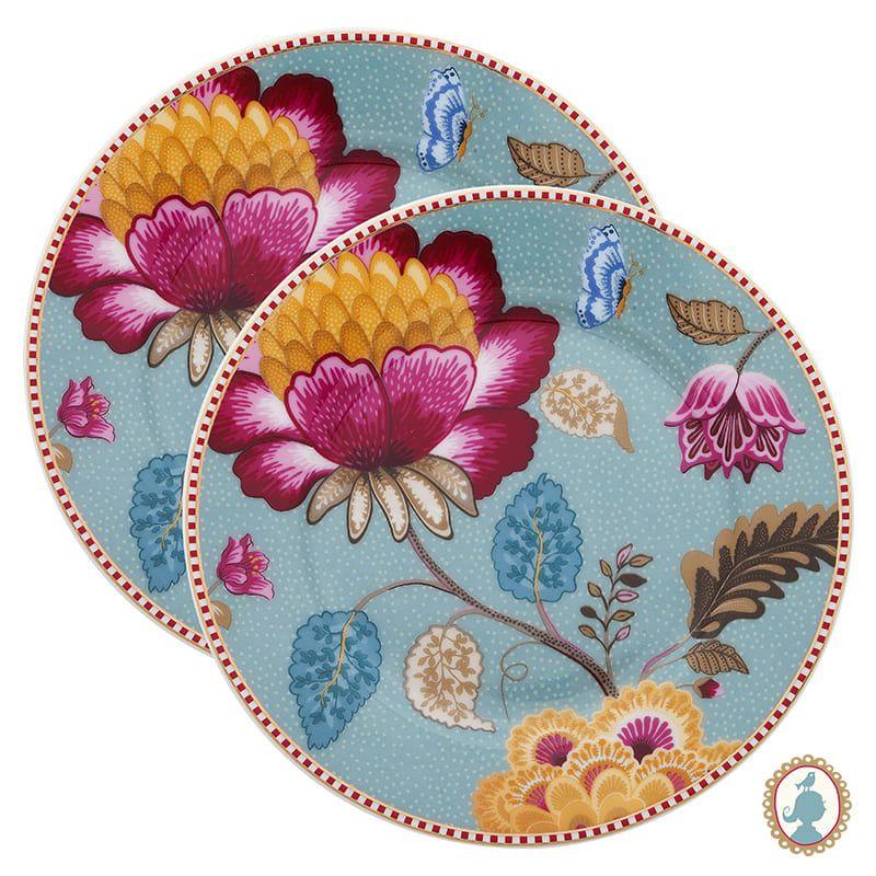 Jogo com 2 pratos para pão Floral Fantasy azul