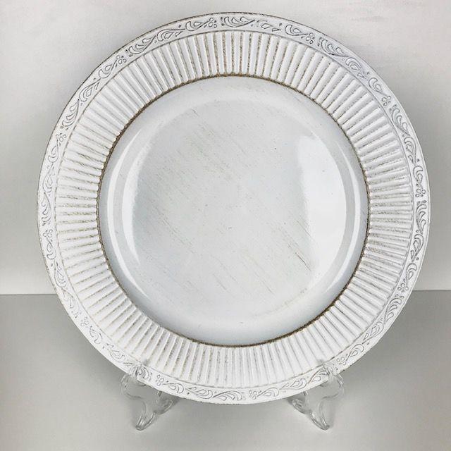 Sousplat Branco com borda stripes