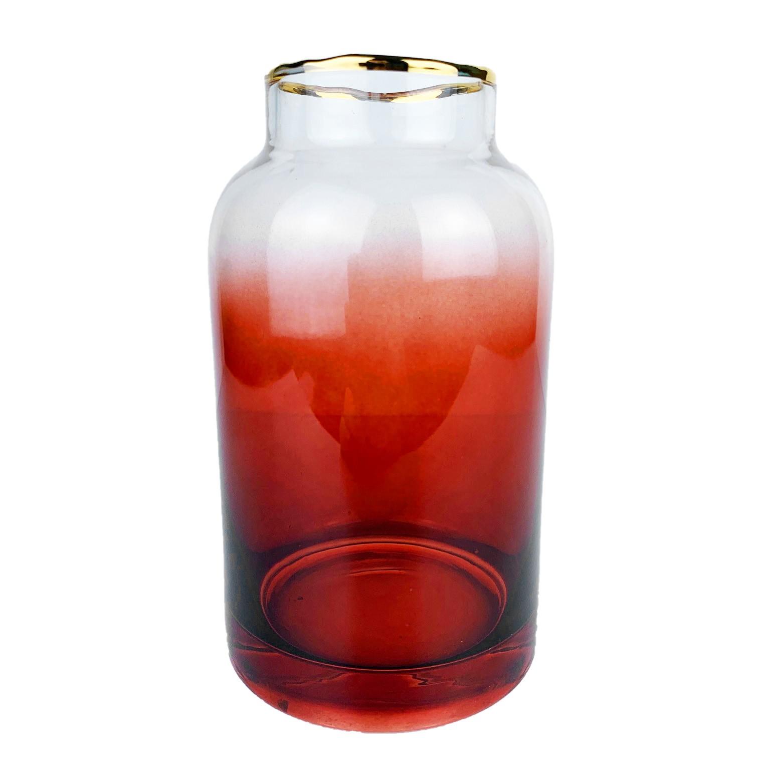 Vaso Rosê com Borda Dourada 14 cm