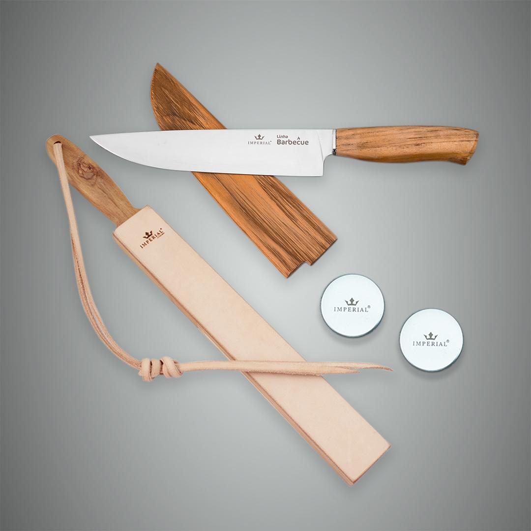 Kit Strop com Pastas de Brilho e Polimento + Faca Barbecue com Bainha de Madeira
