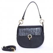 Bolsa Anita Couro Napa Black/Croco Black