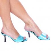 Mule Bico Quadrado Salto Médio Metalizado Azul Turquesa