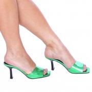 Mule Bico Quadrado Salto Médio Metalizado Verde Esmeralda