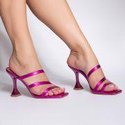 Mule Tiras e Salto Taça Metalizado Pink