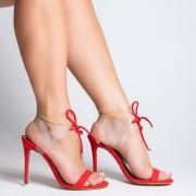 Sandália Amarração Vinil Suede Vermelho