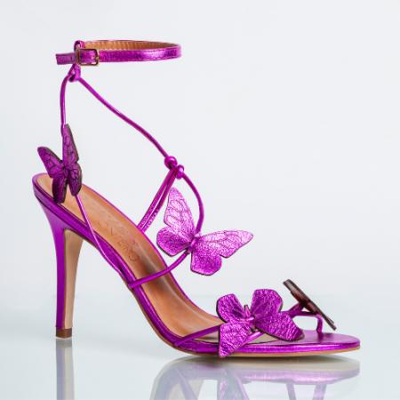 Sandália Borboletas Couro Cristal Pink