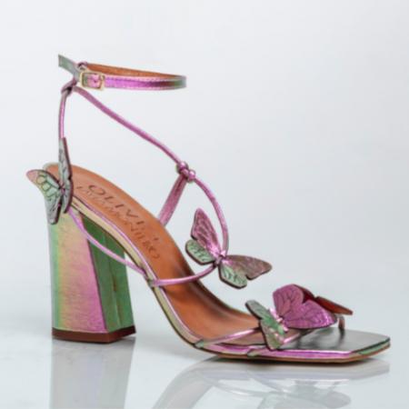 Sandália Borboletas Salto Bloco Alto Cristal Rosa/Verde