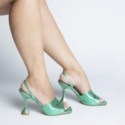 Sandália Estilo Chanel Salto Taça Metalizado Verde