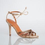 Sandália Estrela Salto Fino com Amarração Cristal Ouro