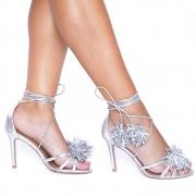 Sandália Fru-Fru Amarração Couro Cristal Prata
