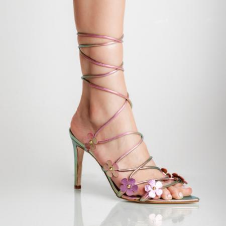 Sandália Rosas Salto Fino Amarração Cristal Rosa/Verde
