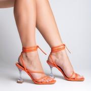 Sandália Salto Taça Transparente e Tiras Finas Laranja