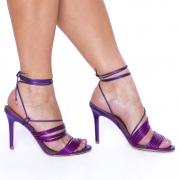 Sandália Tiras com Amarração Salto Fino Pink/Roxo