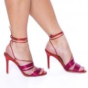 Sandália Tiras com Amarração Salto Fino Pink/Vermelho