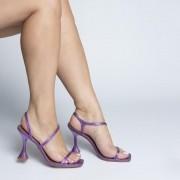 Sandália Tiras e Salto Taça Metalizado Roxo