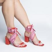 Sandália Tiras Largas Color Block Amarração e Salto Bloco Red/Rose