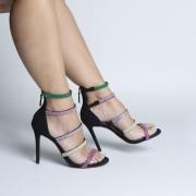 Sandália Várias Tiras Black com Aplicações de Strass Color