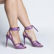 Sandália Várias Tiras Metalizado Roxo