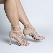 Sandália Várias Tiras Nude com Aplicações de Strass Cristal