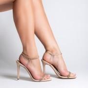 Sandália Vinil e Tiras Cristal Ouro Nude