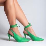 Scarpin Salto Médio Amarração Suede Verde