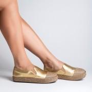 Slip On Metalizado Dourado Com Cristais Ouro