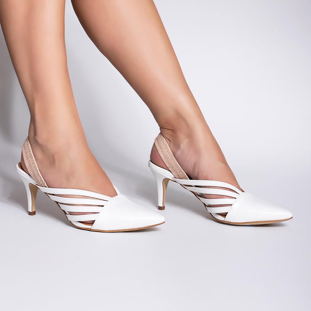 Chanel Salto Baixo Várias Tirinhas White