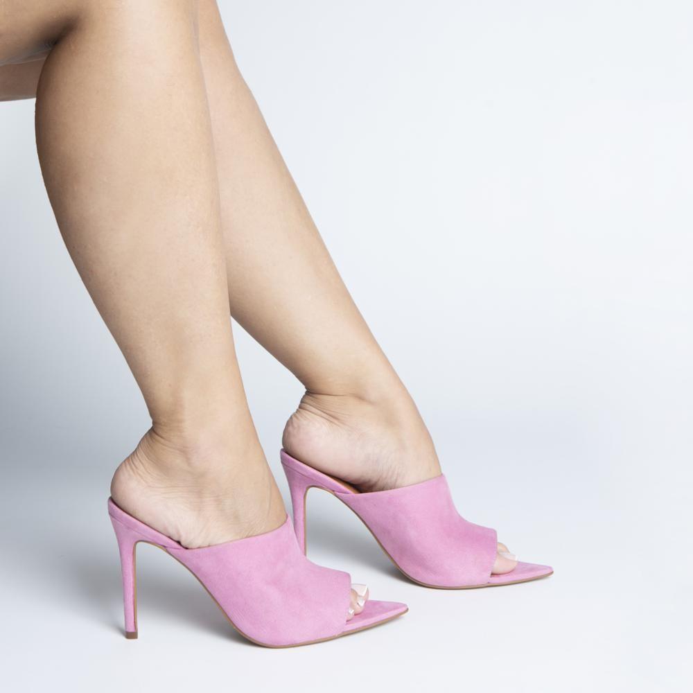 Mule Bico Folha e Salto Fino Suede Rosa Candy